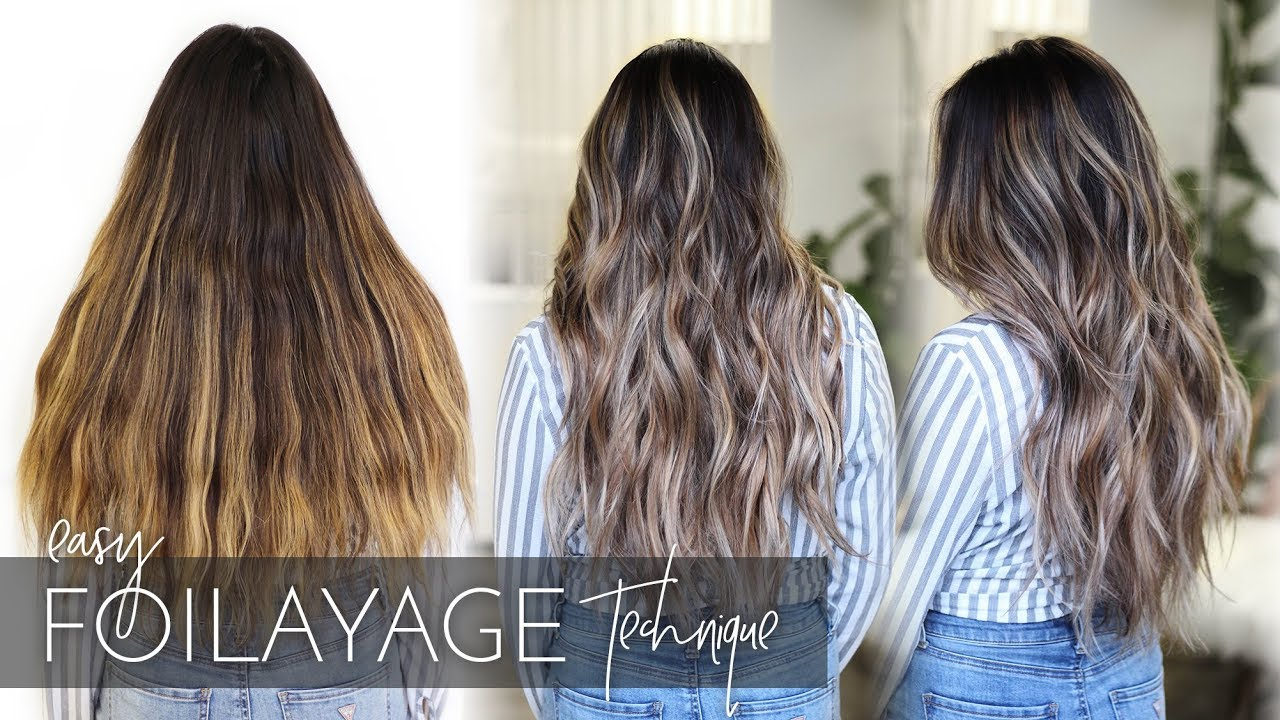 How To Balayage Dark Long And Thick Hair Foilayage Hair Technique New Method