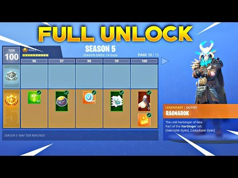 BUYING ALL 100 TIERS Season 5 Battle Pass ALL ITEMS UNLOCKED Fortnite Battle Royale