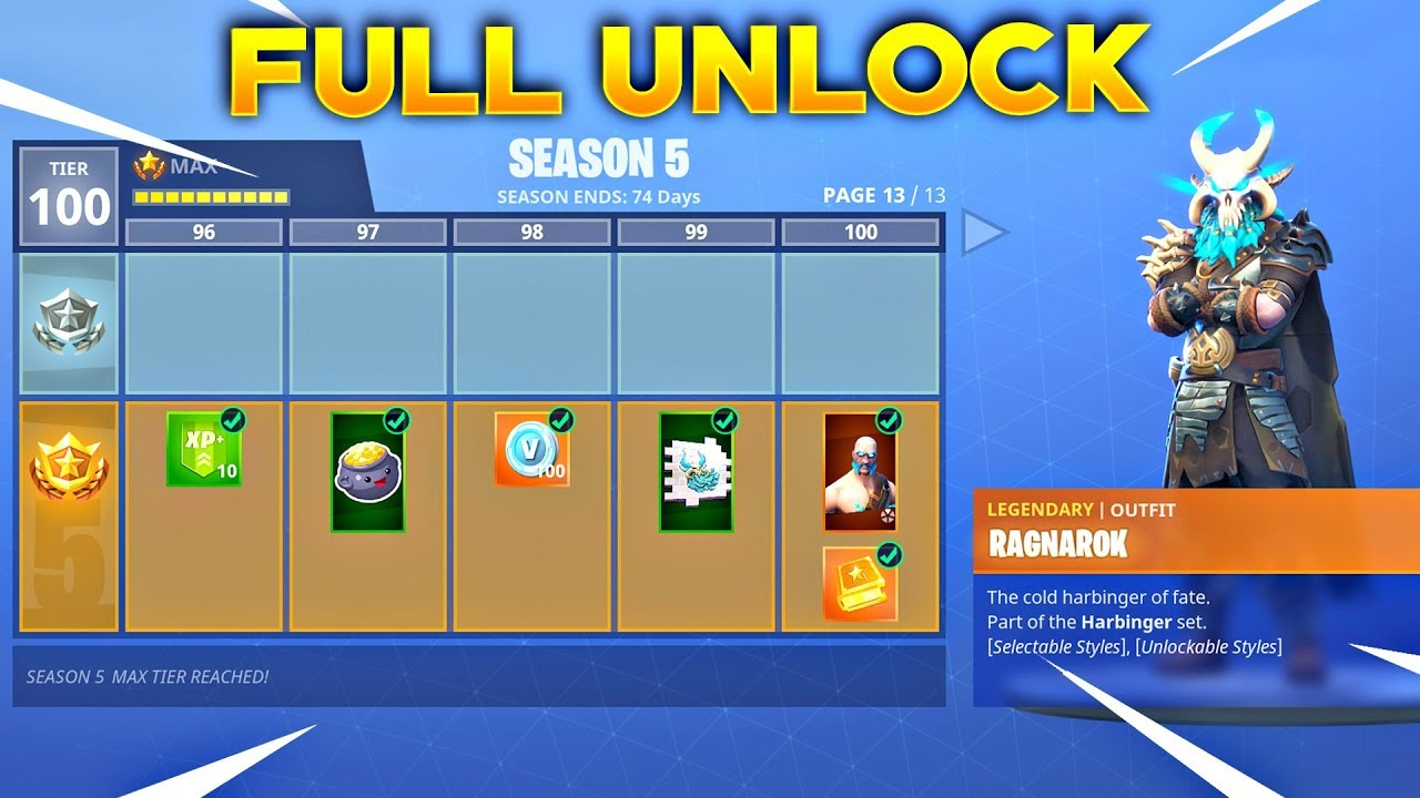 Buying All 100 Tiers Season 5 Battle Pass All Items Unlocked