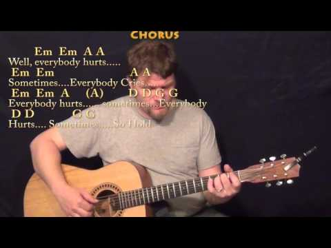 Everybody Hurts (R.E.M.) Fingerstyle Guitar Cover Lesson with Chords/Lyrics