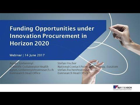 Euresearch Webinar Horizon 2020 - Funding Opportunities under Innovation Procurement