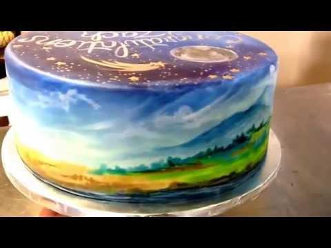 Cake Art! Hand painted cake- Elle's Belles Bakery- Montana