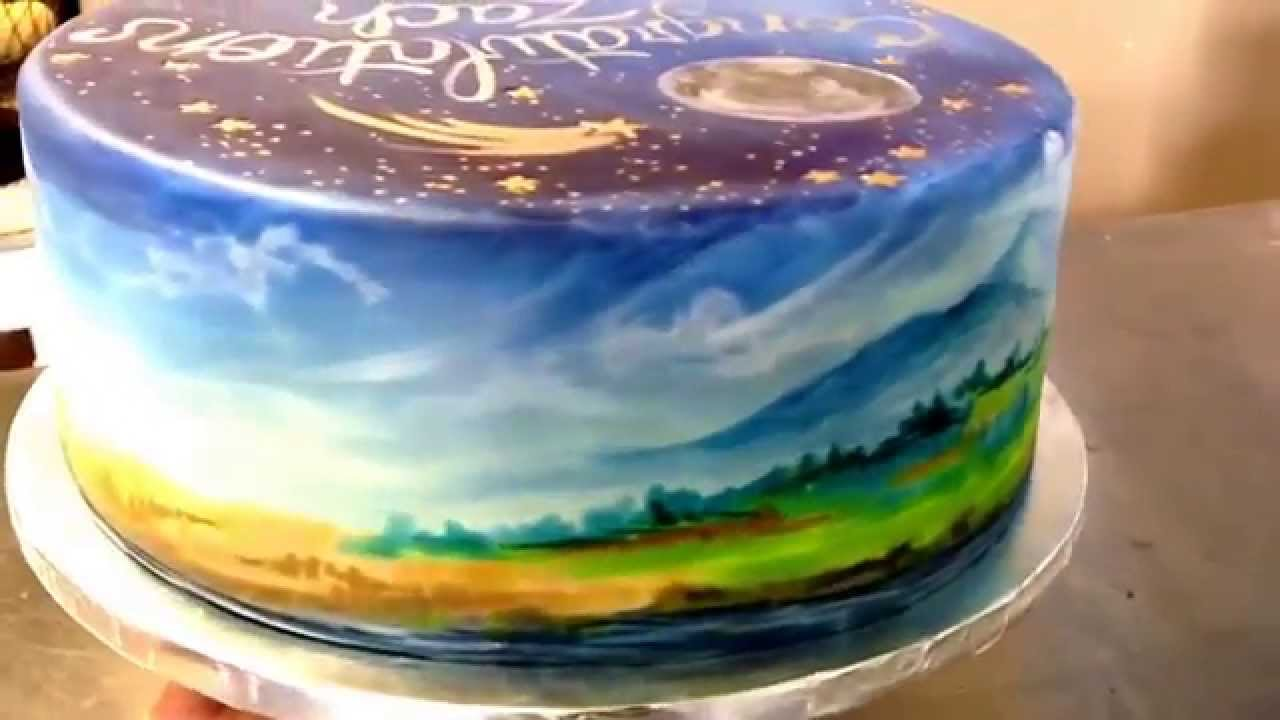 Cake Artist 4 You : Cake Art! Hand painted cake- Elle s Belles Bakery- Montana - YouTube