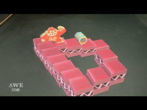 Donkey Kong x M.C. Escher Impossible Staircase 3D Chalk Art - AWE me Artist Series