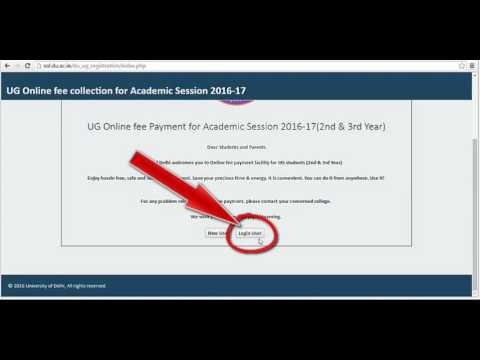 University of Delhi, UG Online fee Payment for Academic Session 2016-17(2nd  & 3rd Year)