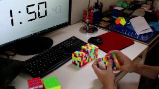 2x2-7x7 Rubik's Cube Relay: 5:26.32 (Unofficial World Record)