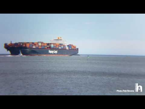 A Container ship arriving in Halifax Nova Scotia
