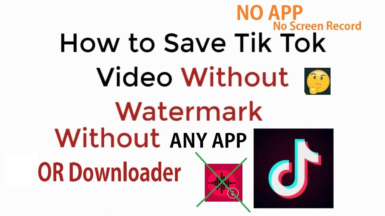 NO APP : Download TikTok Videos Without Watermark/Logo without any App Or  Screen Record