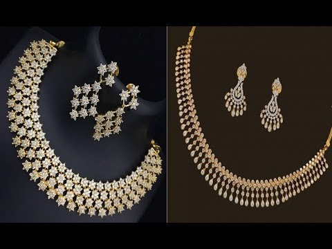 Simple White Stone Gold Necklace Designs Latest Jewellery