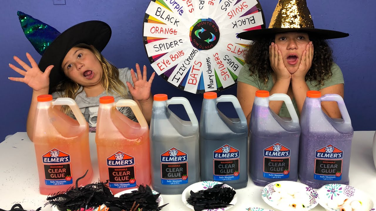 Slime Master Mary And Izzy: MYSTERY WHEEL OF SLIME CHALLENGE HALLOWEEN EDITION!