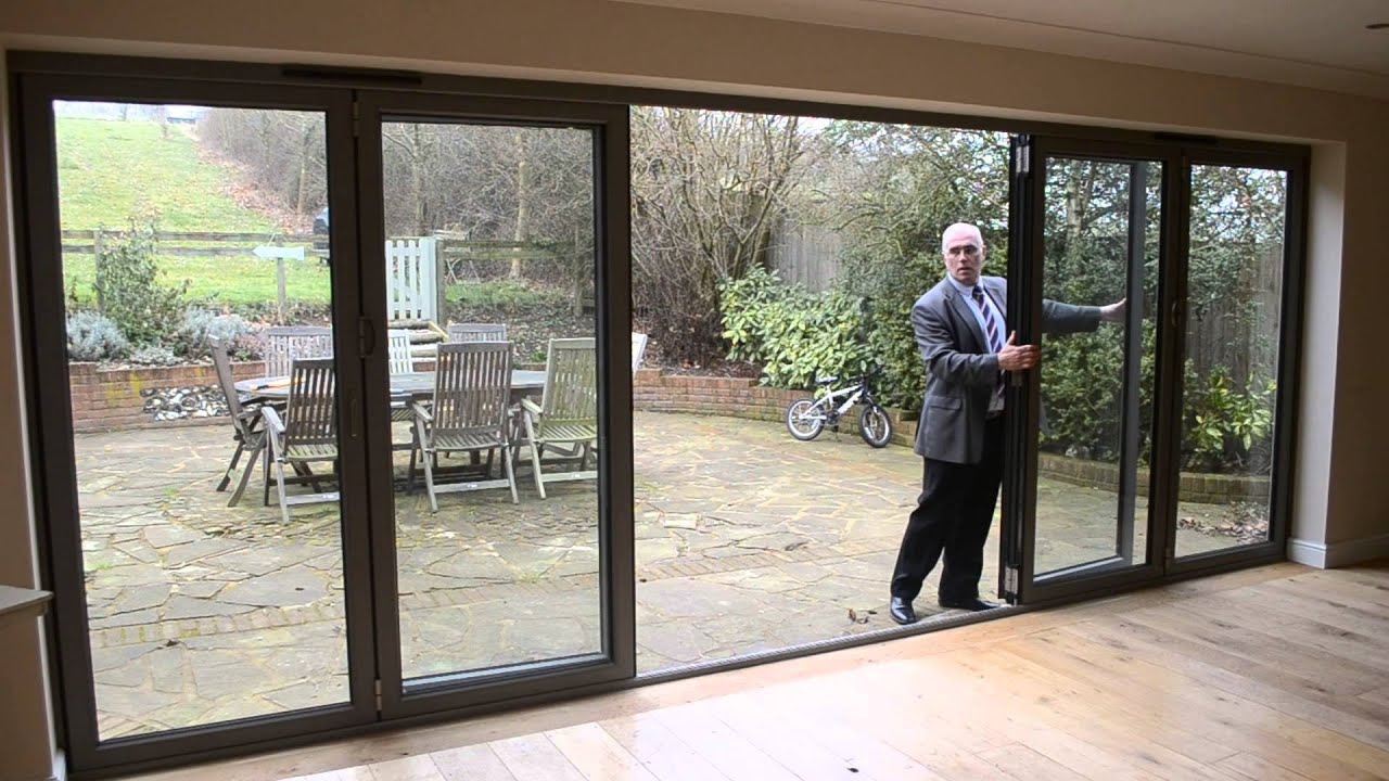 Bifold door: 6 panel anthracite aluminium (French door) - YouTube