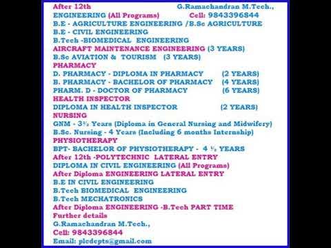 B.Sc Nursing, Diploma in Health Inspector, Aircraft Maintenance Engineering, Aviation, Tamilnadu