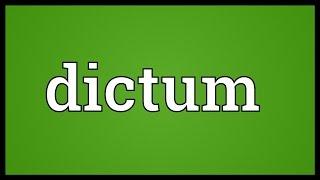 Dictum Meaning