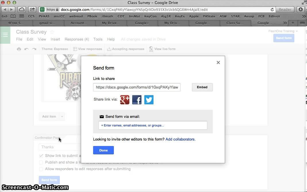 Google Form Response Destination Sending And Sharing Youtube