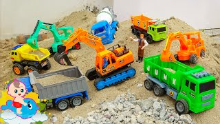 Family truck, wheel loader, concrete mixer truck working - J246N Baby Toy Fish
