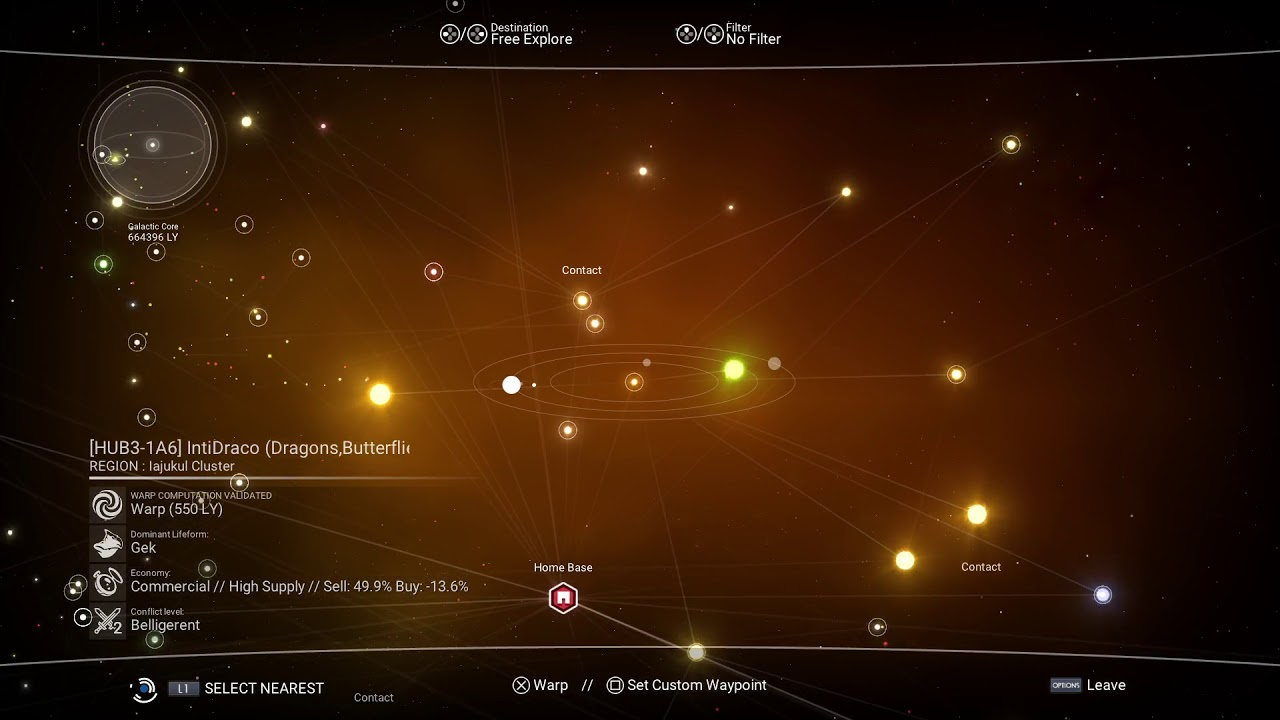 No Mans Sky V HUB Area And My Base System And HUBHUB - Star map from my location