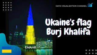 Ukraine's flag 🇺🇦lights up on World's tallest building Burj Khalifa in Independence day - Dubai, UAE