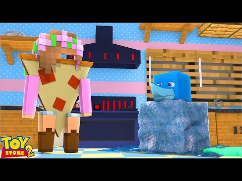LITTLE KELLY TURNS INTO PIZZA??? Minecraft TOY STORE S2 w/ Sharky