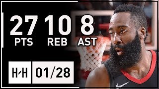 James Harden Full Highlights Rockets vs Suns (2018.01.28) - 27 Pts, 10 Reb, 8 Assists!