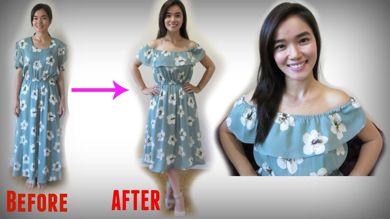 Thrifted Transformation Off Shoulder Dress Youtube