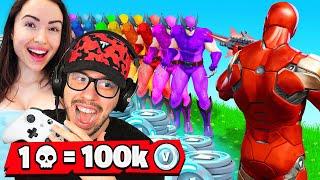 1 Elimination = 100,000 V-Bucks With My Girlfriend! (Challenge)