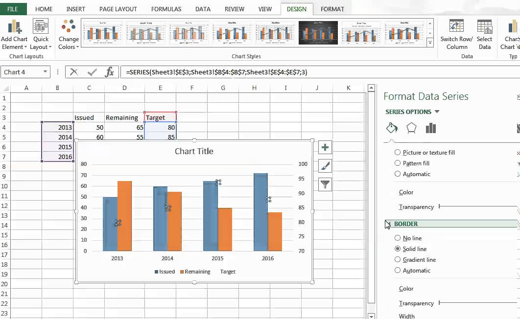 MS Excel combining two different type of bar type in one graph - YouTube