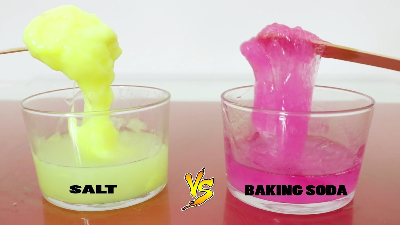 Testing No Borax Recipes Salt Slime Vs Baking Soda Slime Youtube