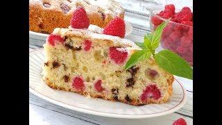 Безумно вкусный пирог с малиной и шоколадом!