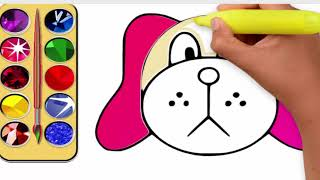 Drawing dog with coloring # drawing for kids # Easy drawing for kids # Draw and color the Dog