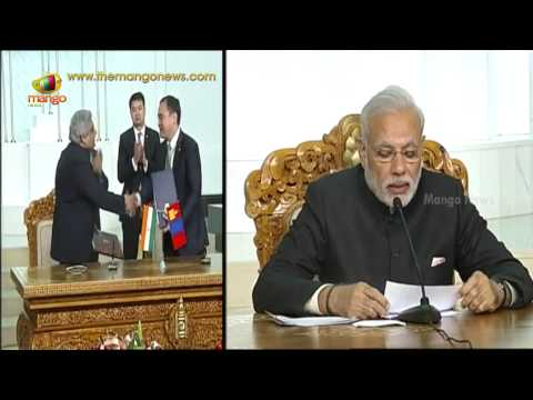 PM Modi at Mongolia Agreement Signing   Announces $1.9 bn credit line to Mongolia