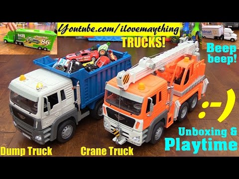 Toy Review: Toy Cars and Trucks! Disney Cars, Driven Dump Truck and Crane Truck Unboxing & Playtime