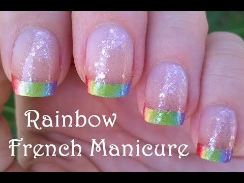RAINBOW NAILS In French Manicure Design Pretty Sponge Nail Art