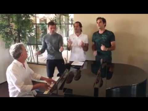 Roger Federer,Tommy Haas,Grigor Dimitrov sing together