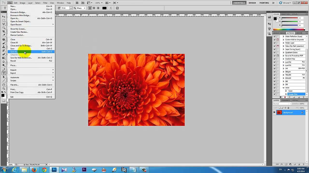 how to apply actions in photoshop cs5