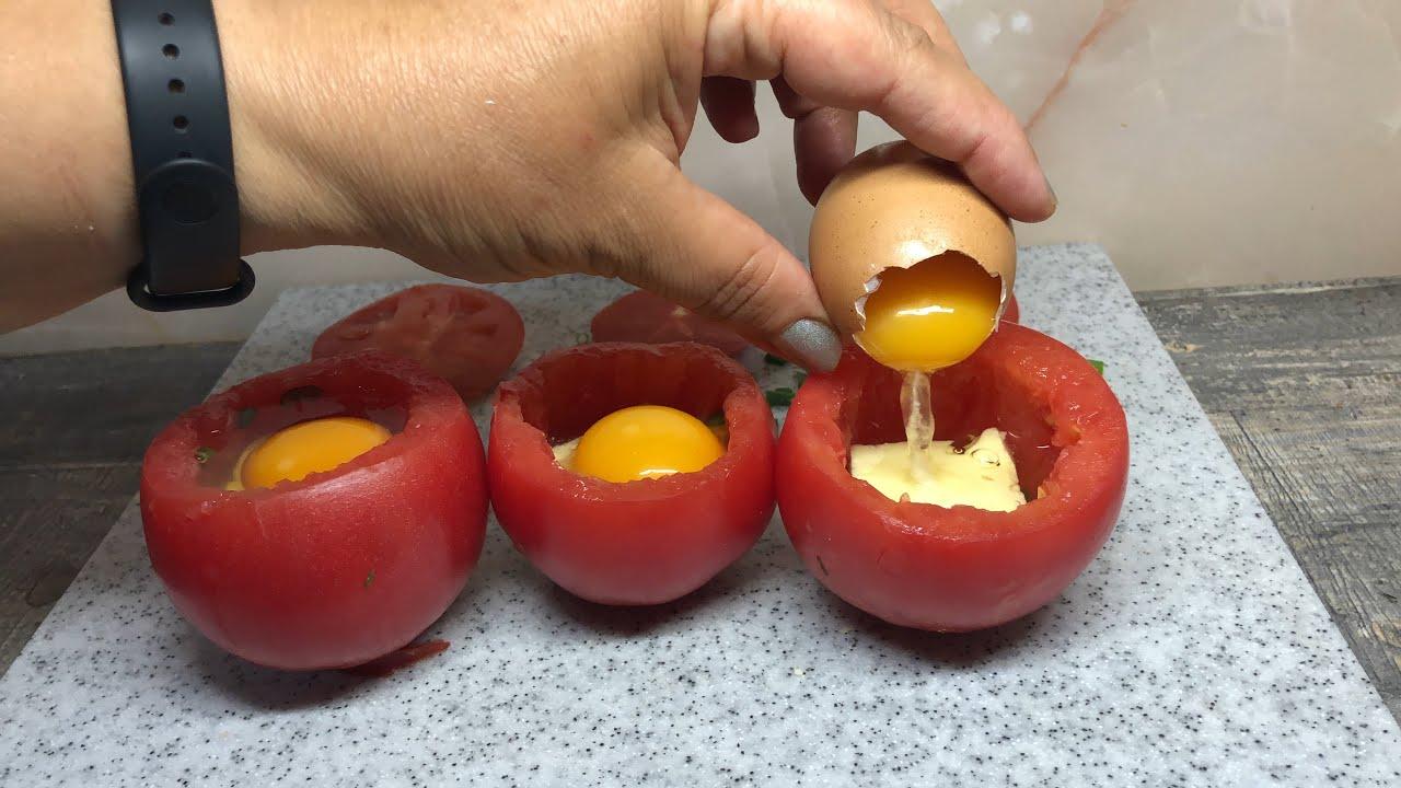 Просто положите яйцо в помидор и вы будете в восторге! Рецепт завтрака