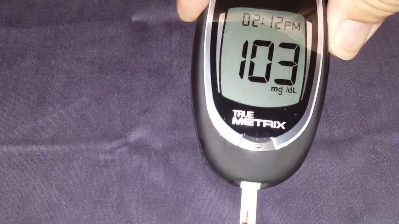 True Metrix Blood Glucose Meter Demonstration - YouTube