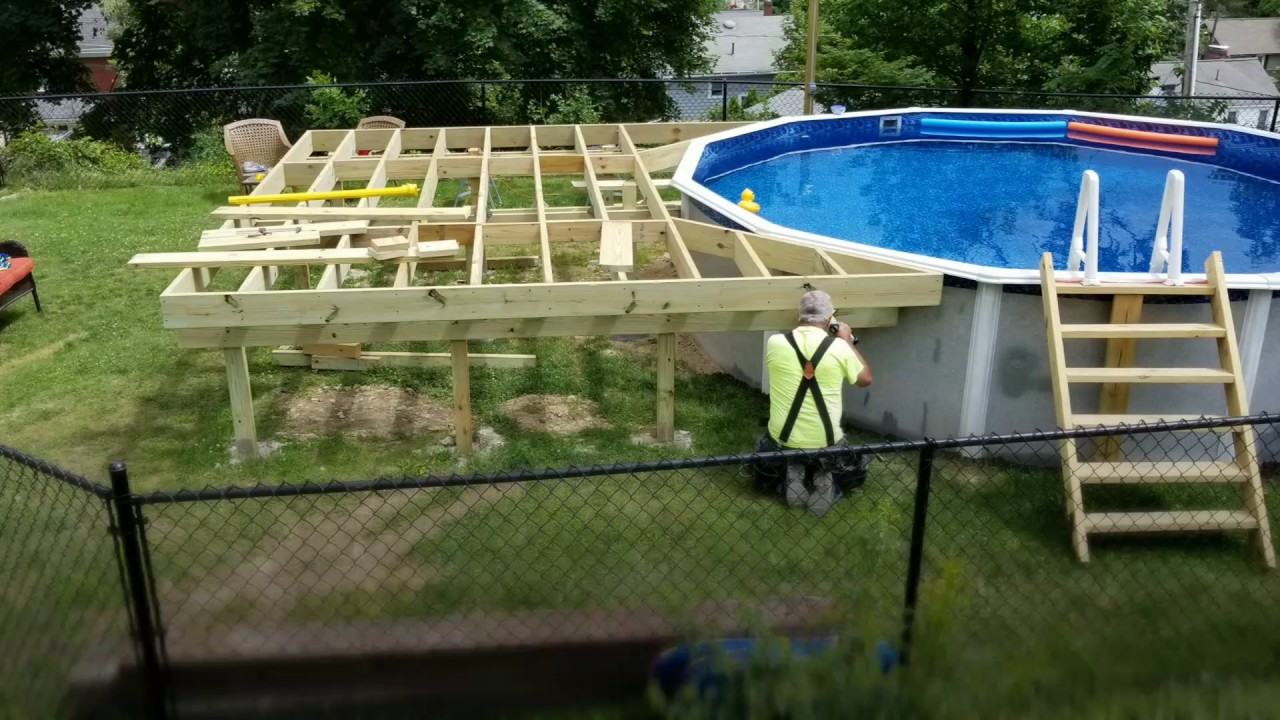 Diy How To Build A Pool Deck Youtube