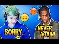 Travis Scott Gets *PISSED* At Ninja After Losing 7 Games Straight! *DRUNK* Fortnite Moments
