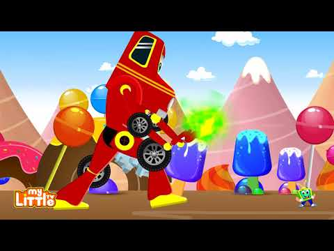 Red Super Car vs Angry Ostrich Chasing Kids | Cars Cartoon Songs & Rhymes