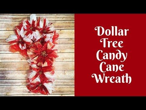 Christmas Crafts: Dollar Tree Candy Cane Wreath