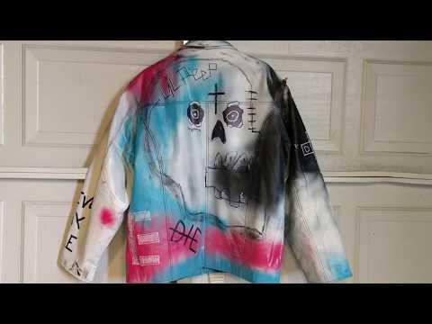 9bcfedc56 LIL PEEP Coat custom leather painted skull never say die jacket lil peep  merch AUCTION