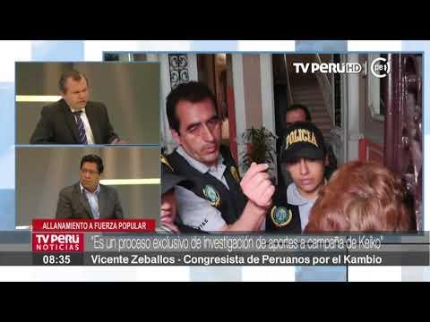 Vicente Zeballos: Allanamiento a locales de Fuerza Popular es parte de proceso investigatorio