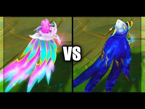 Legendary Star Guardian Xayah vs Cosmic Dusk Xayah Skins Comparison (League of Legends)