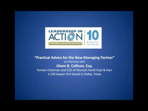 Practical Advice for the New Managing Partner