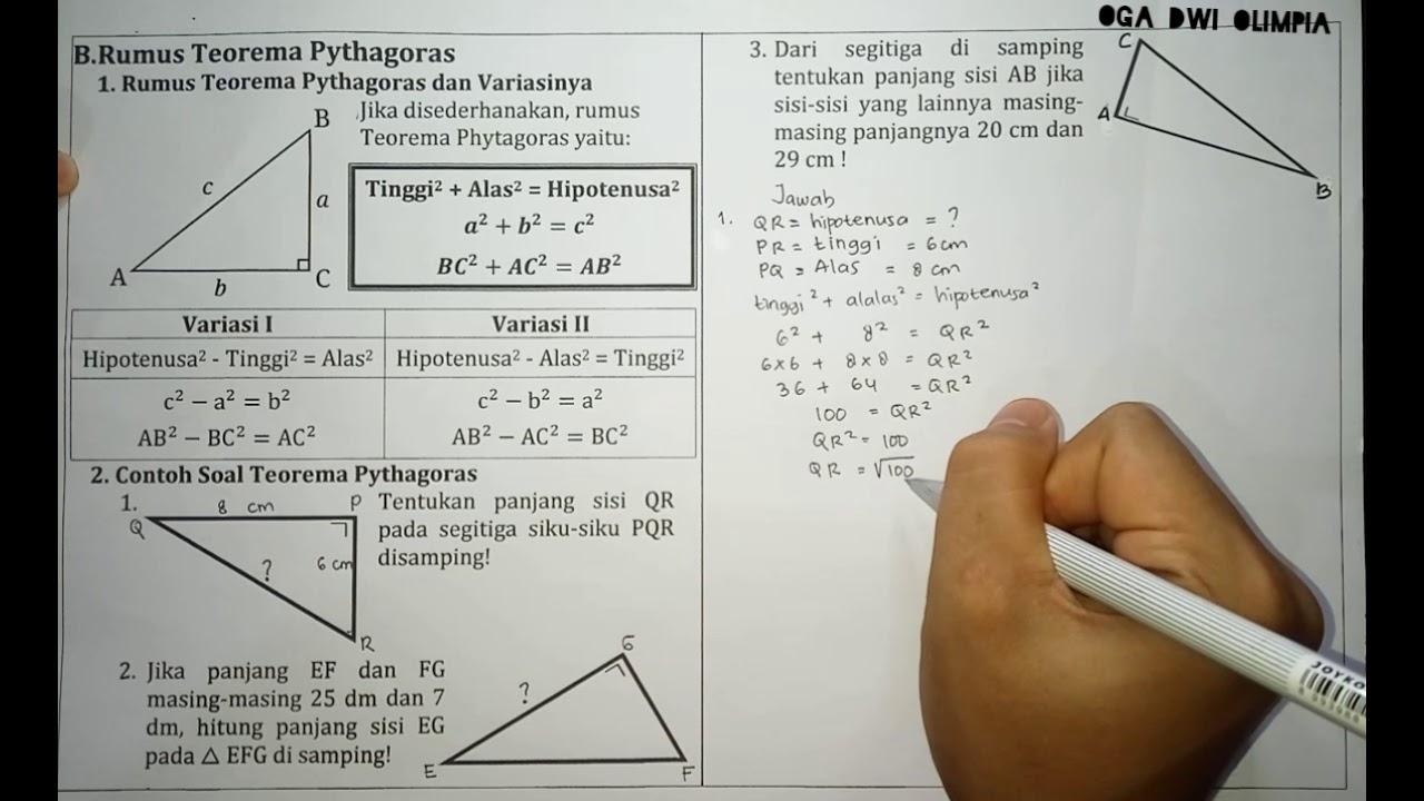Rumus Dan Contoh Soal Teorema Pythagoras Matematika Smp Kelas 8 Youtube