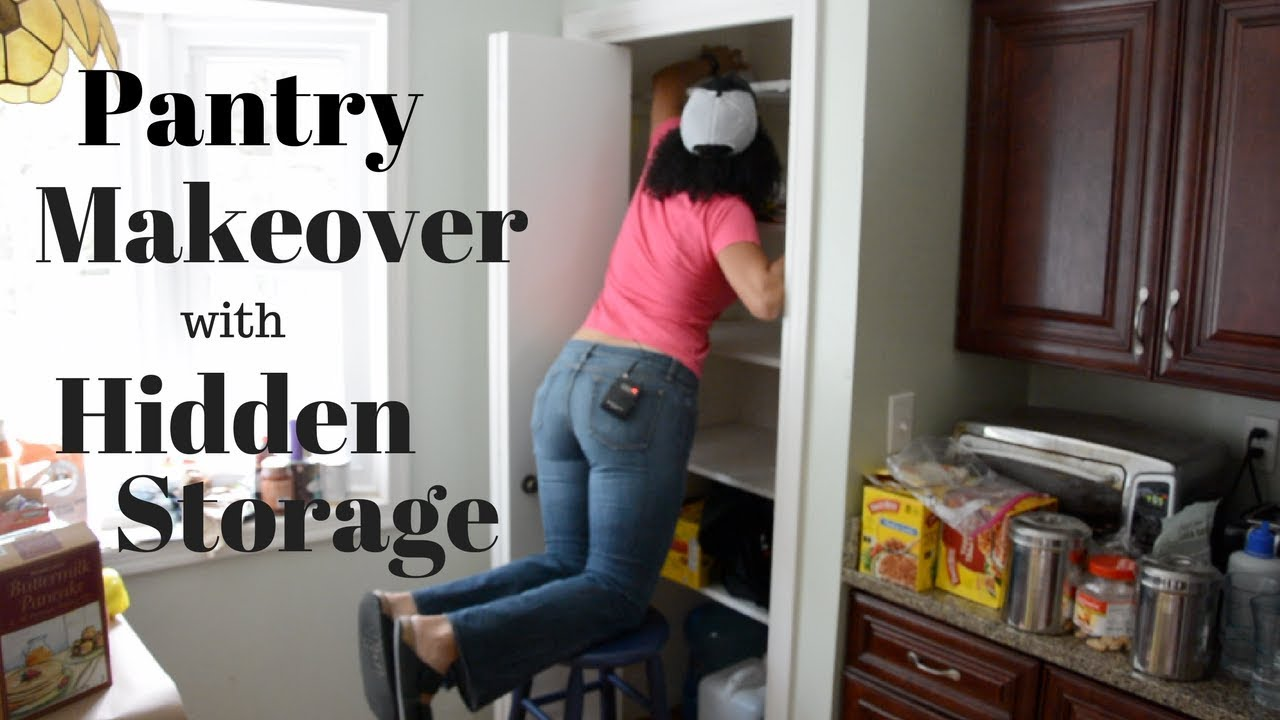 Pantry Makeover With Hidden Storage Inside Of The Can Food