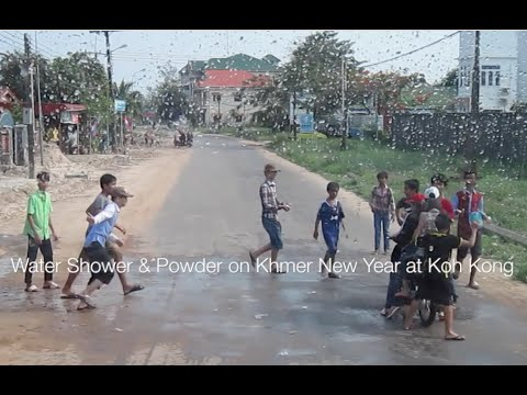 Khmer New Year at Koh Kong playing water shower and powder