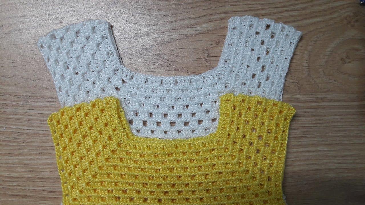 Hướng dẫn móc váy cho bé họa tiết trái dứa | Crochet baby dress (P1)