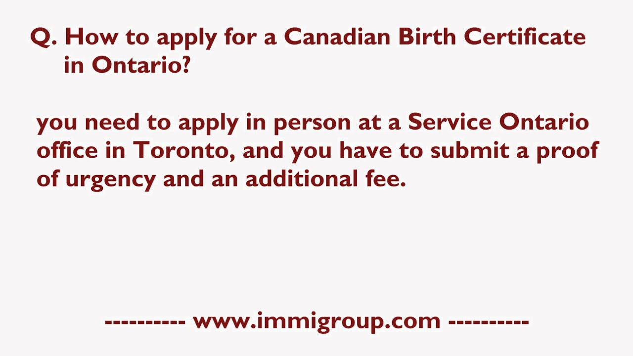 How to apply for a canadian birth certificate in ontario youtube aiddatafo Choice Image