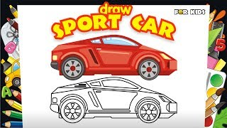 Animated Coloring Pages, Coloring Book. 🚗 How to Draw & Paint Racing Sport Car | Kid Learning Video